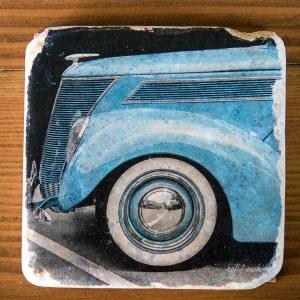 Blue Vintage Car Coaster