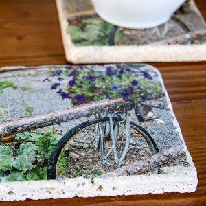 Bike With Purple Flowers by Kelly Cushing