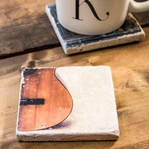 Bottom of Acoustic Guitar Coaster by Kelly Cushing
