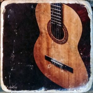 Guitar on Black Coaster by Kelly Cushing