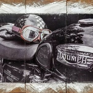 Vintage Triumph Motorcycle & Helmet Wall Decor by Kelly Cushing