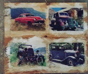4 Vintage Trucks on Reclaimed wood