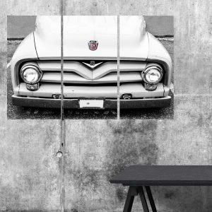 Mockup Triglyph of Vintage White Ford Truck