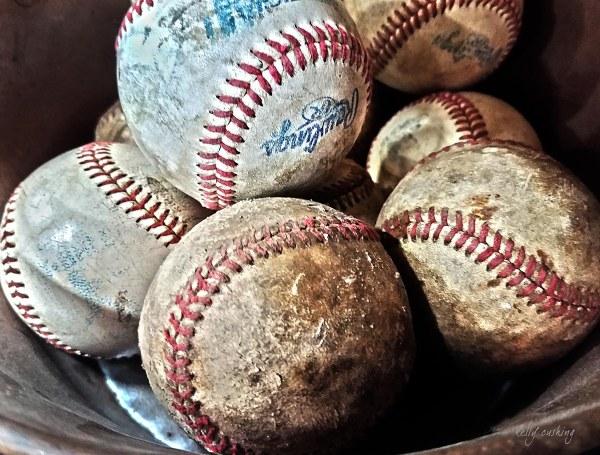 Vintage Baseballs on Canvas by Kelly Cushing
