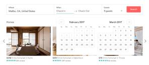 Calendar to select dates