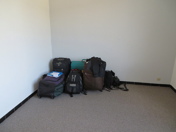 All the stuff we managed to take on the plane; 4 checked pieces and 4 carryons