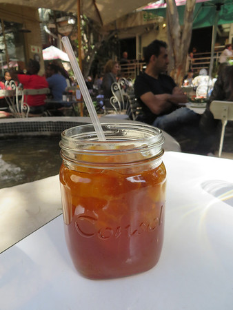 My homemade pineapple and ginger ice tea in a jar
