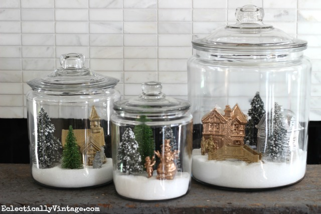 How To Make Winter Village Snow Globe Jars Eclectically