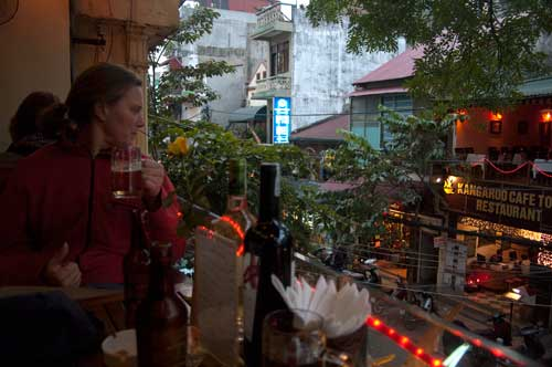 Sue looking down onto Hang Be street
