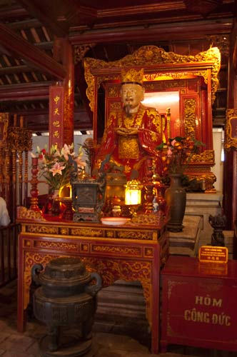 altar with statue of Confucius, Temple of Literature, Hanoi, Vietnam