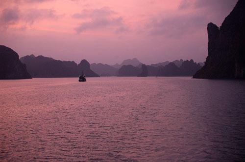 sunset in Ha Long Bay, Vietnam