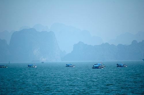 Ha Long Bay, Vietnam, fishing fleet
