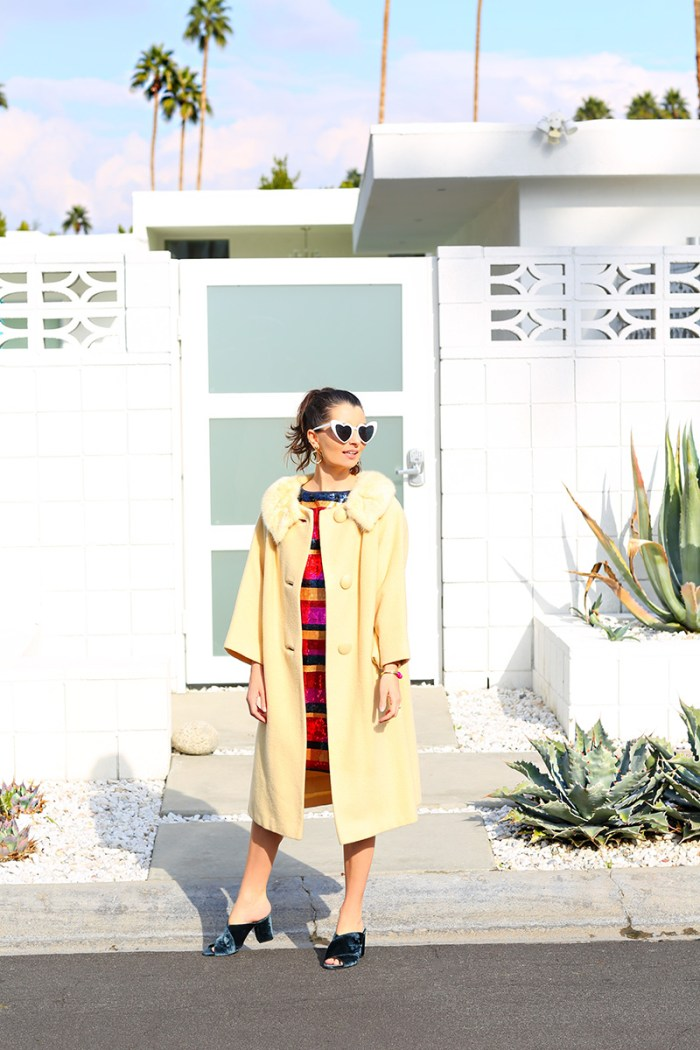 How To Style a Sequin Dress: Add a 60s style swing coat + mules.   Kelly Golightly