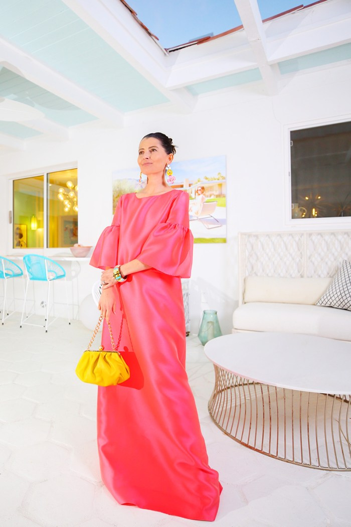 Frances Valentine Yellow Bag + Reem Acra Coral Gown   Kelly Golightly