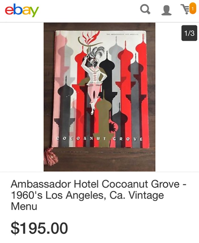 Cocoanut Grove Menu on eBay