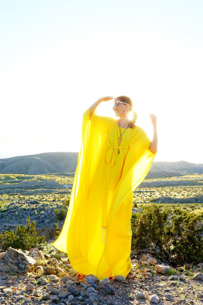 How To Wear a Yellow Caftan   Kelly Golightly
