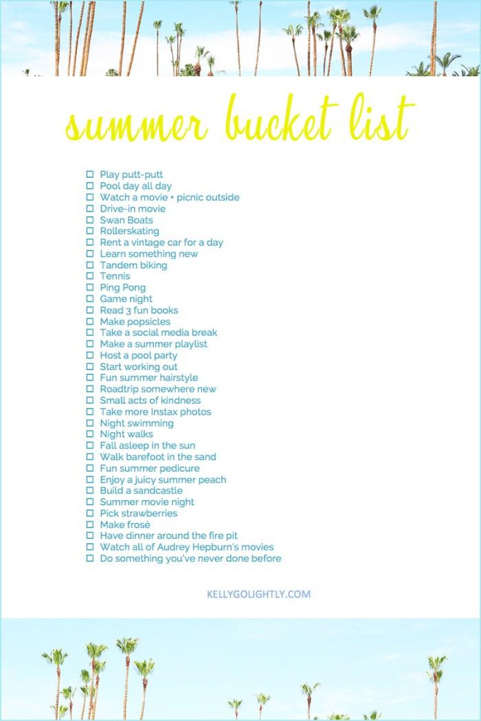 Summer Bucket List 2019 | Kelly Golightly