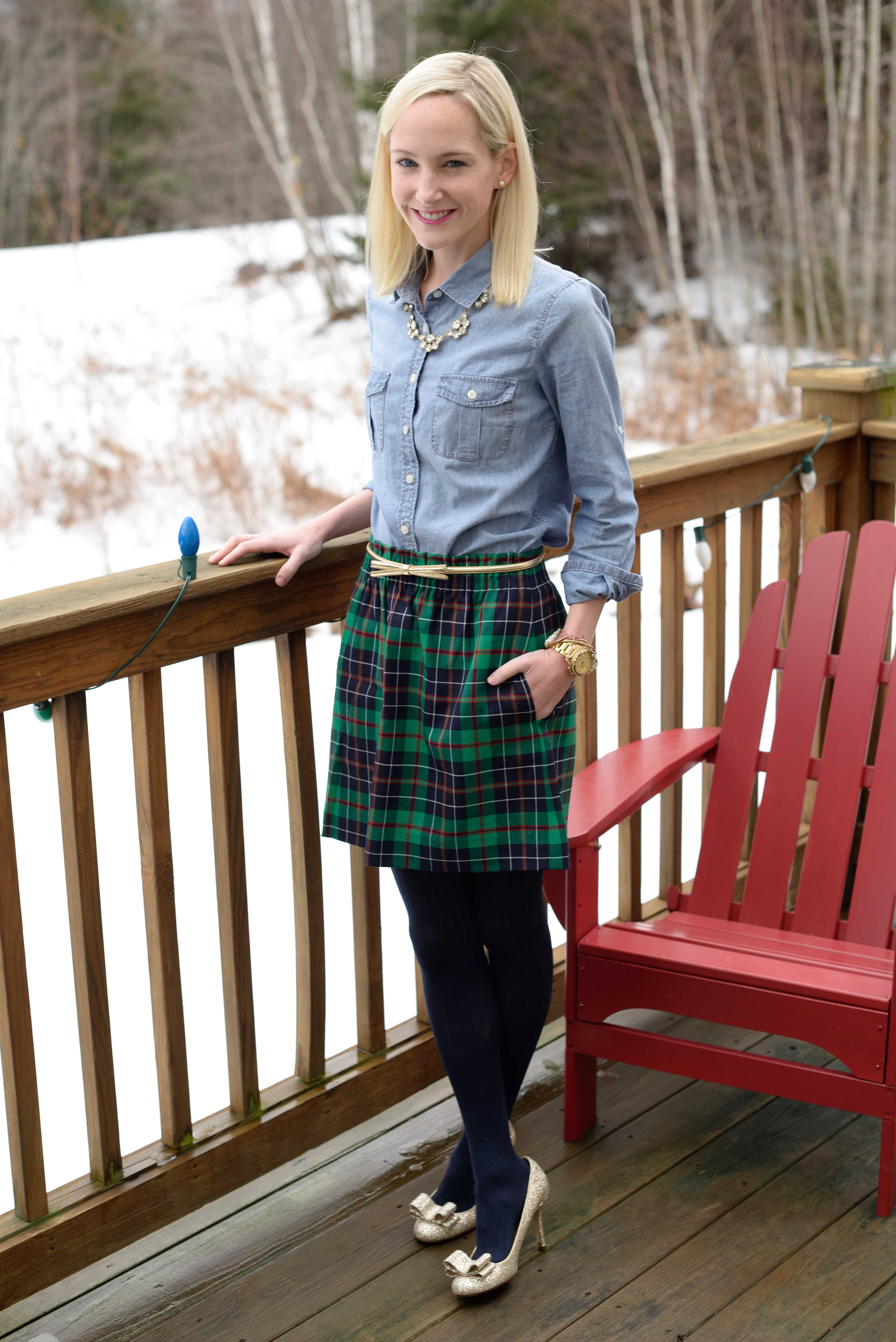 Christmas In Vermont Plaid Skirts Chambray Tops And Glittery Pumps Kelly In The City