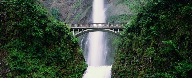 bridge and waterfall