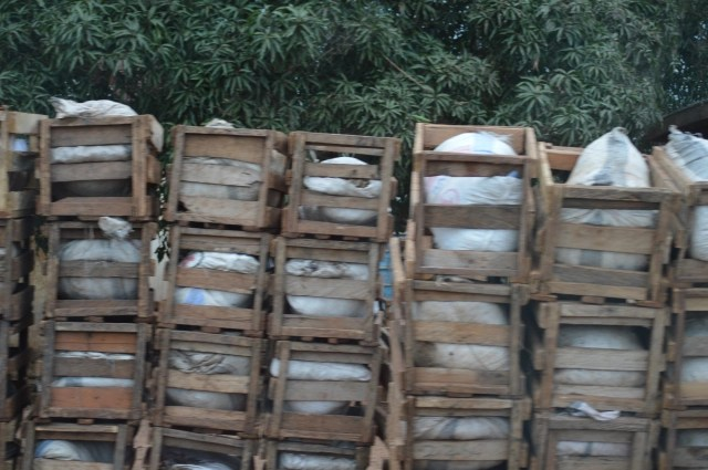 stacked wooden crates in Ghana