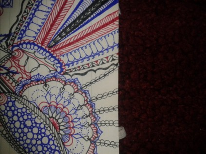 blue red black ink fine line mandala excerpt