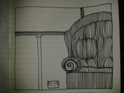 pinstripe counch fabric contour sketch adrawingaday