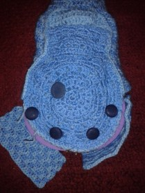 piecing together ukulele crocheted case