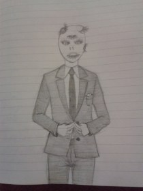 suit sketch skinny tie graphite moleskine