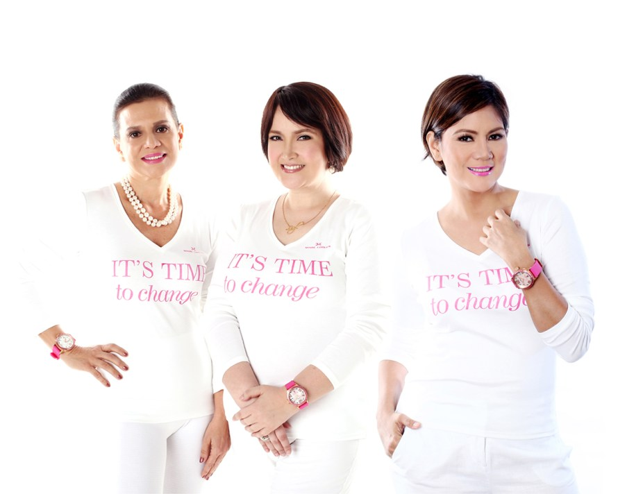 Ann-Puno,-Liezl-Martinez-&-Patty-Betita-wearing-the-Marc-Coblen-Pink-Ribbon-Watch