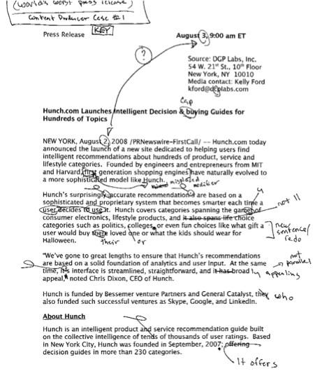Press Release as a Case Study