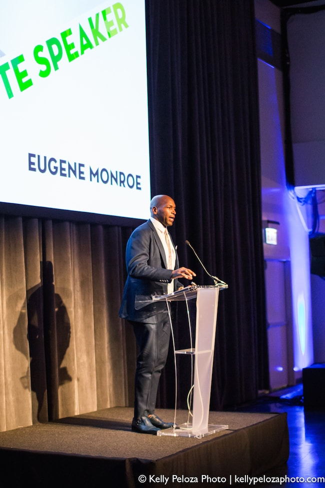 Retired NFL player Eugene Monroe speaking at the 2016 Streetwise Gala at the Museum of Broadcast Communications