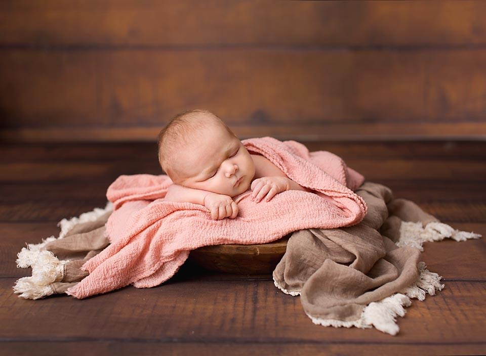 Professional photo of Sleeping new baby girl