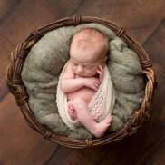 Orillia newborn, sleeping in basket, professional newborn photo