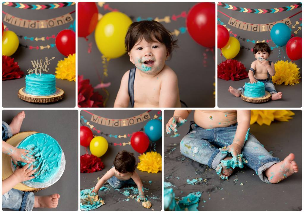 Themed cake smash birthday photos in Newmarket