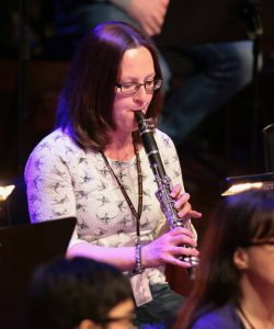 Lesley Crawford playing the clarinet