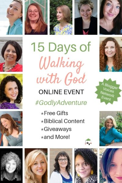 Need encouragement, inspiration, and reminders of truth while walking with God? Join the 15 Days of Walking with God Blogger Voices Network Online Event. #BloggerVoicesNetwork #walkingwithGod #Bible #Christian #faith #ThrivingInChrist #OnlineEvent #strength #GodTime #Biblestudy #devotional #blogger #giveaway