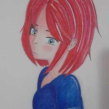 anime girl with red hair