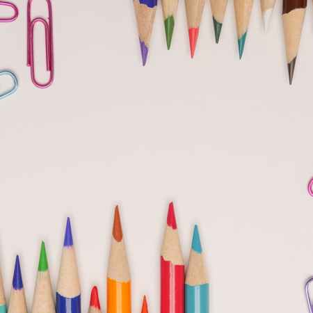 photo of color pencils and colorful paper clips
