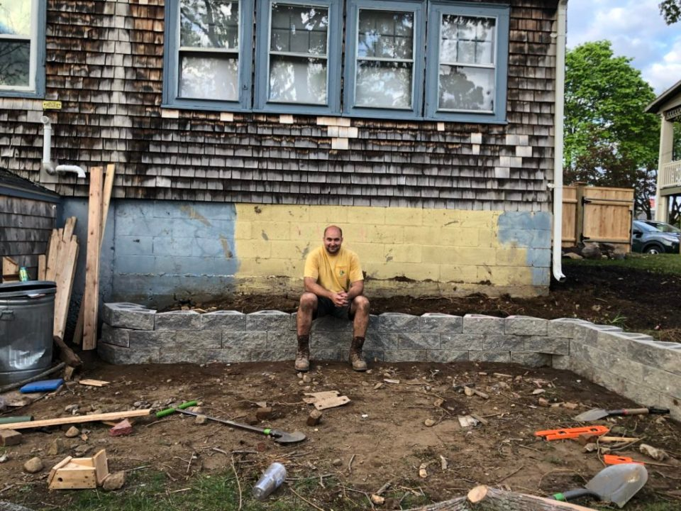 mike with old retaining wall