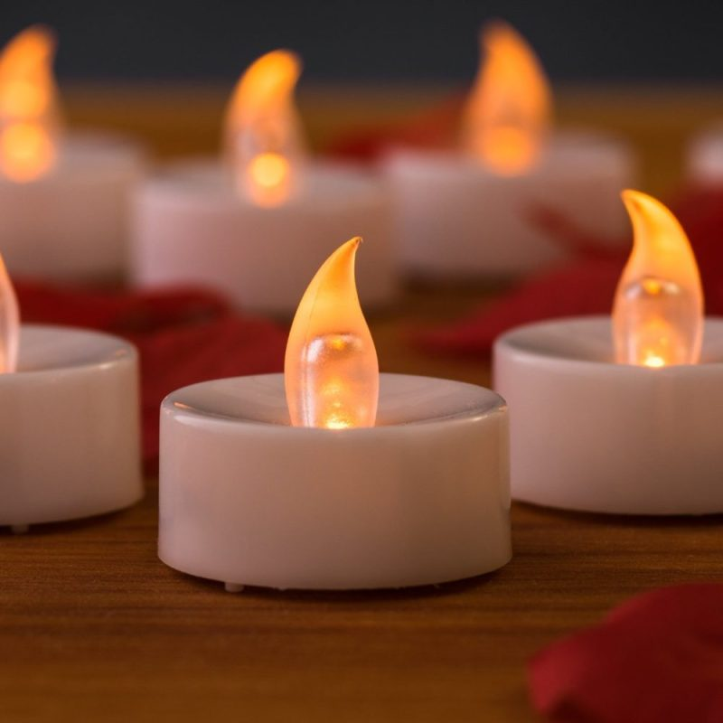 Flameless Tea Lights By Mars - 24 Yellow Flickering LED Candles Tealights