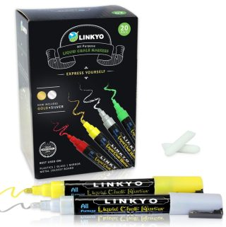 LINKYO 20 Color Liquid Chalk Marker Pens #LINKYO