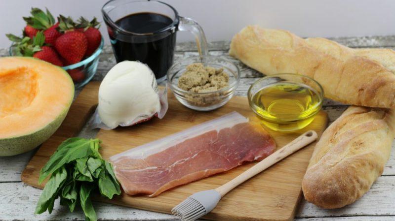 Strawberry Cantaloupe Prosciutto Bruschetta with Balsamic Glaze Recipe