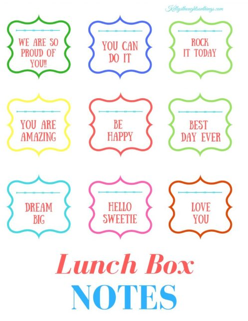 Lunch Box Notes- Free Printable