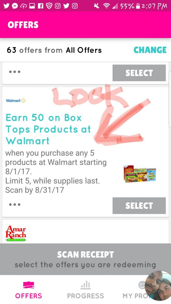 Examaple of a Box Top Offer from Walmart