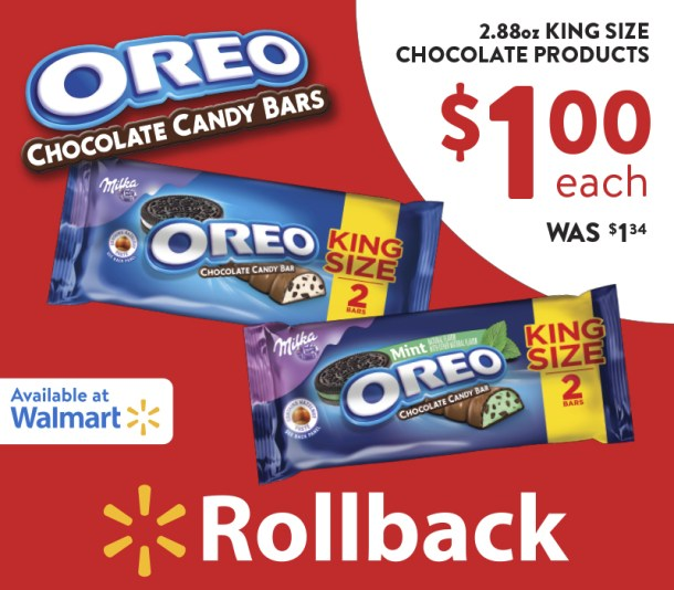 OREO Chocolate King Size Candy Bars Rollback at Walmart (Plus Sweepstakes)