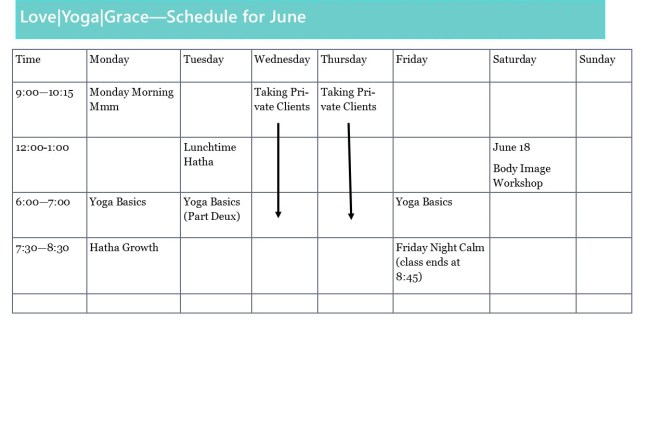 SCHEDULE FOR JUNE