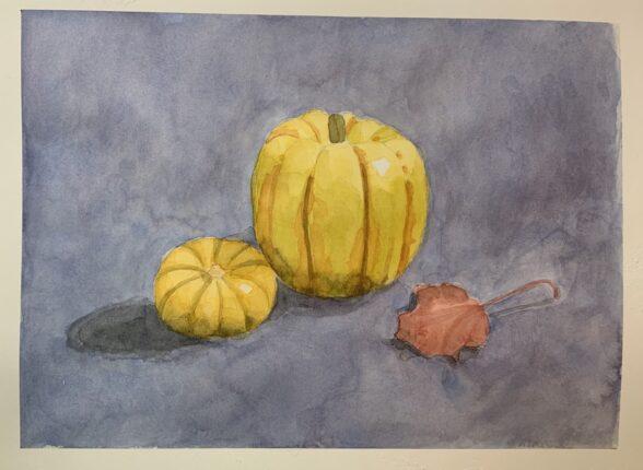 Small pumpkin watercolor still life