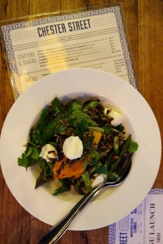 Wild rice salad, cumin & cashew roasted pumpkin, asparagus, mint, labna and pomegranate dressing