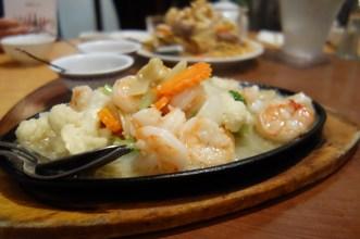Sizzling hot platter - prawns in garlic sauce