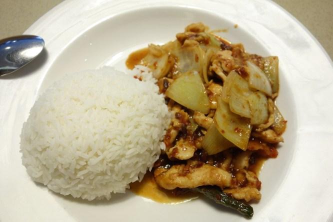 Sambal chicken with rice